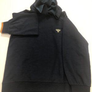 hummel hættetrøje mørkeblå med orange ærmekant