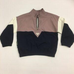 hummel trøje halfzip mørkeblå med hvid og lilla