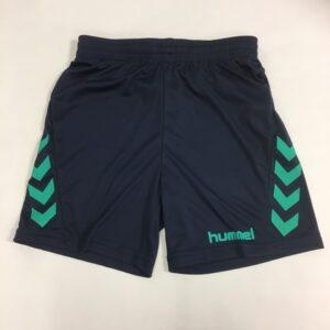 Mørkeblå shorts med grøn stribe til drenge fra hummel